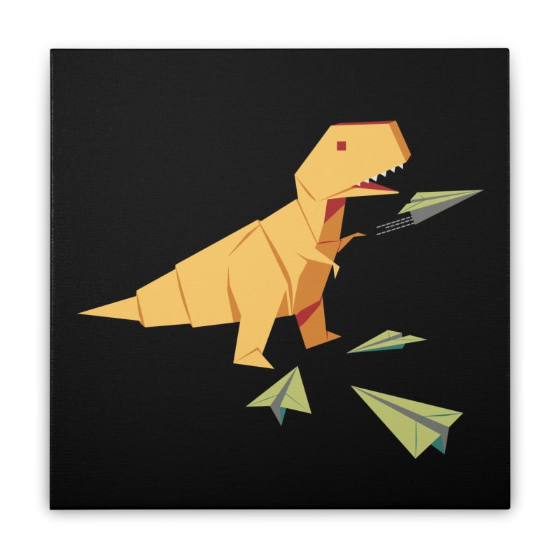 T-rex Dinosaur Origami flying paper planes Home Stretched Canvas by Sidewise Clothing & Design