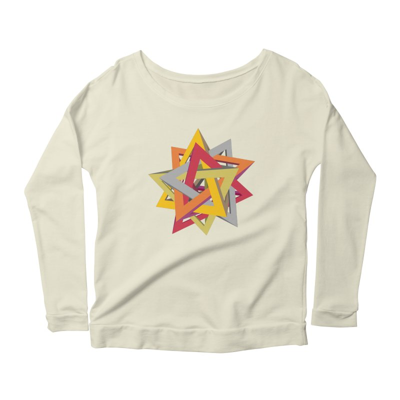 TANGLED TRIANGLES Women's Scoop Neck Longsleeve T-Shirt by Sidewise Clothing & Design