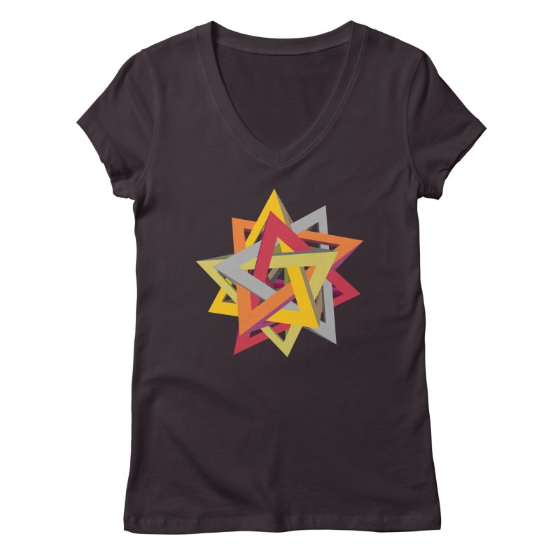 TANGLED TRIANGLES Women's Regular V-Neck by Sidewise Clothing & Design