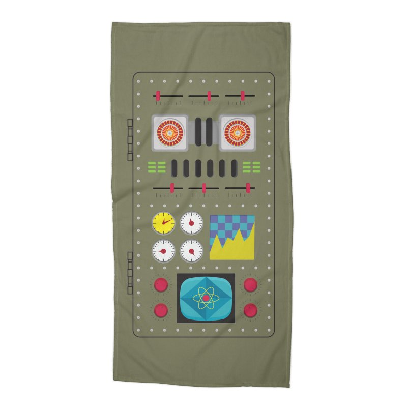1950s RETRO STYLE VINTAGE ROBOT Accessories Beach Towel by Sidewise Clothing & Design