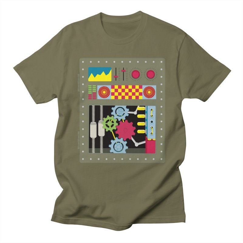 VINTAGE ROBOT in Men's T-Shirt Olive by Sidewise Clothing & Design