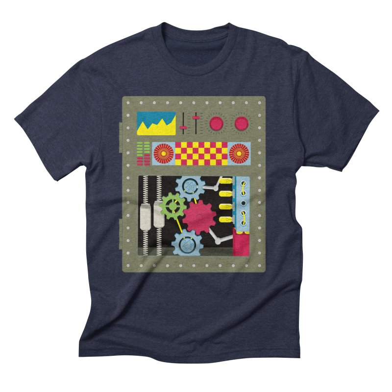 1950s RETRO STYLE VINTAGE ROBOT Men's Triblend T-Shirt by Sidewise Clothing & Design