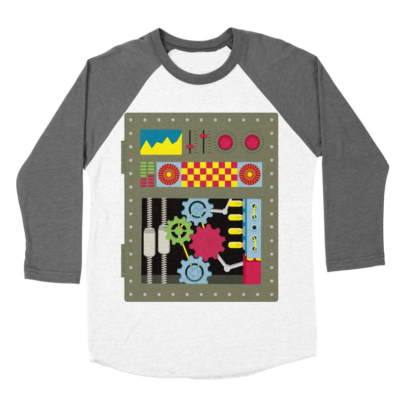 1950s RETRO STYLE VINTAGE ROBOT Women's Baseball Triblend Longsleeve T-Shirt by Sidewise Clothing & Design