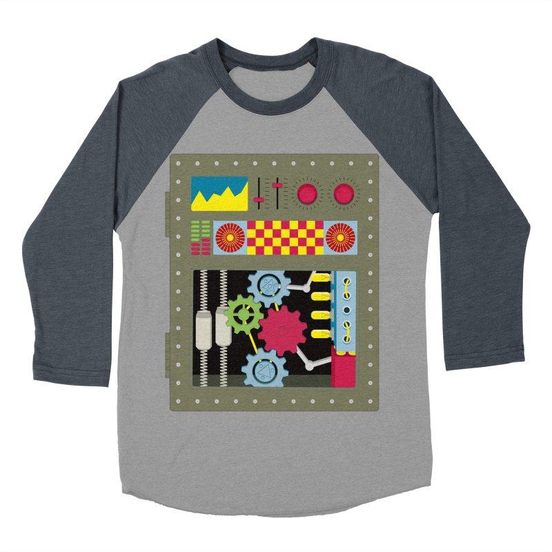 1950s RETRO STYLE VINTAGE ROBOT Men's Baseball Triblend Longsleeve T-Shirt by Sidewise Clothing & Design