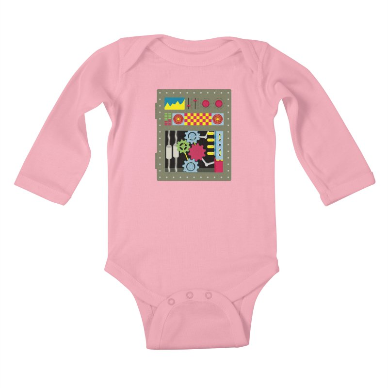 1950s RETRO STYLE VINTAGE ROBOT Kids Baby Longsleeve Bodysuit by Sidewise Clothing & Design