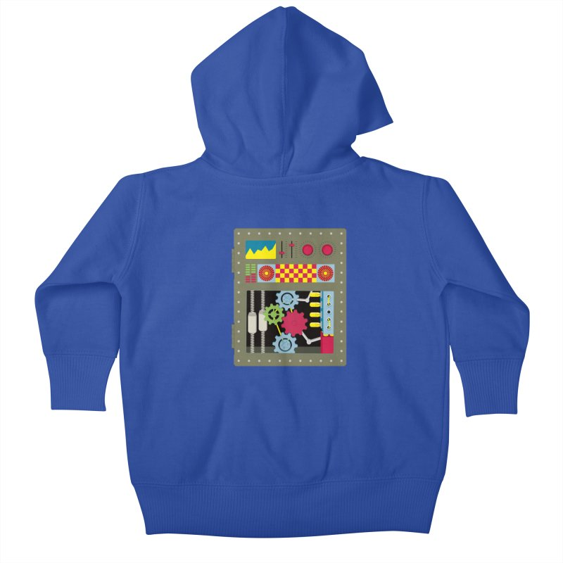 1950s RETRO STYLE VINTAGE ROBOT Kids Baby Zip-Up Hoody by Sidewise Clothing & Design