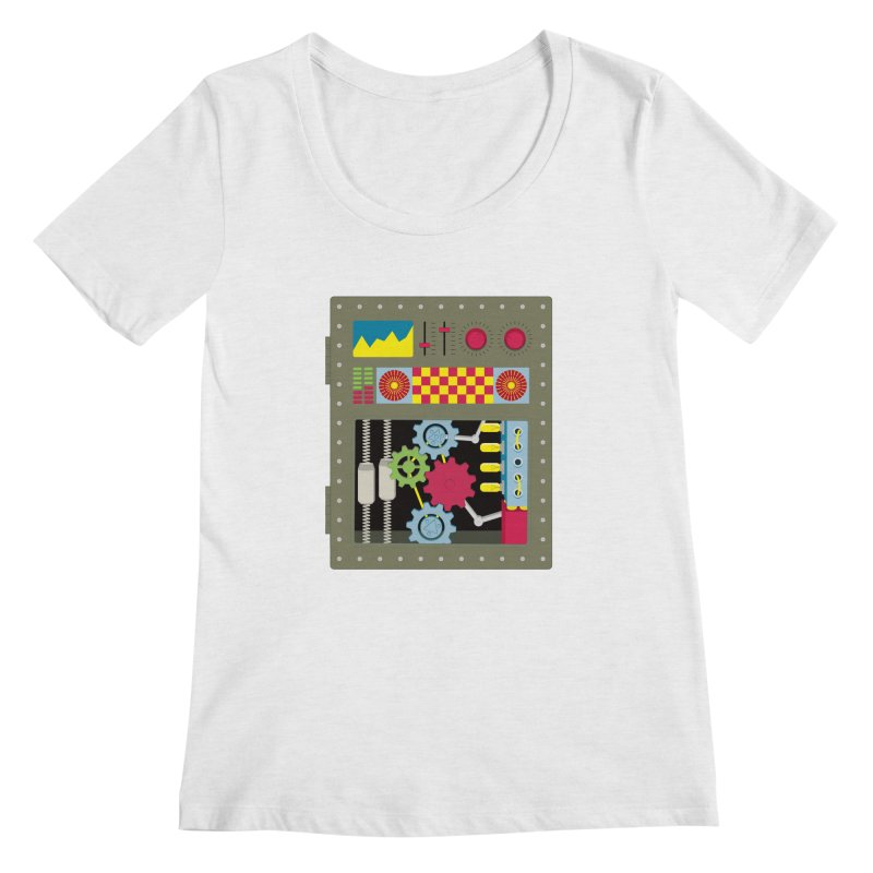 1950s RETRO STYLE VINTAGE ROBOT Women's Regular Scoop Neck by Sidewise Clothing & Design