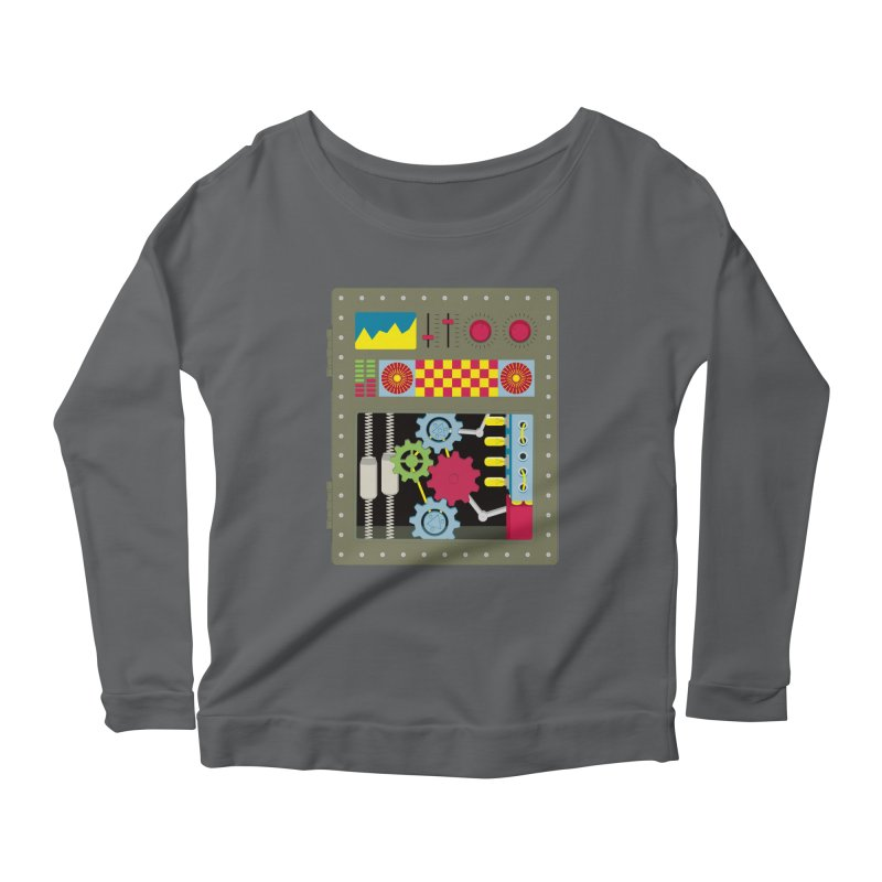 1950s RETRO STYLE VINTAGE ROBOT Women's Scoop Neck Longsleeve T-Shirt by Sidewise Clothing & Design