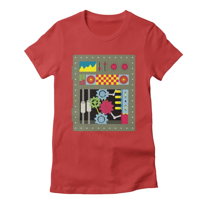VINTAGE ROBOT Women's Fitted T-Shirt by Sidewise Clothing & Design