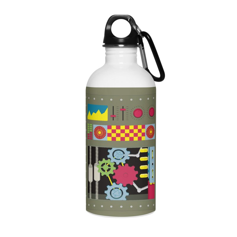 1950s RETRO STYLE VINTAGE ROBOT Accessories Water Bottle by Sidewise Clothing & Design