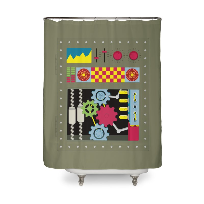 1950s RETRO STYLE VINTAGE ROBOT Home Shower Curtain by Sidewise Clothing & Design