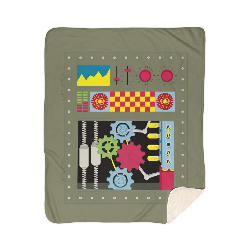 1950s RETRO STYLE VINTAGE ROBOT Home Sherpa Blanket Blanket by Sidewise Clothing & Design