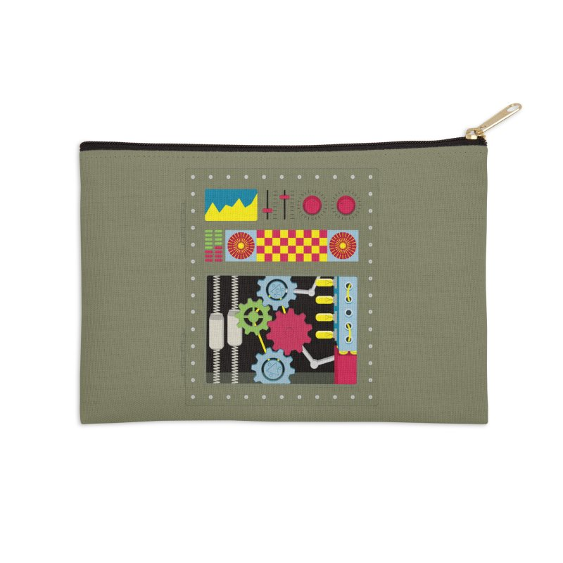 1950s RETRO STYLE VINTAGE ROBOT Accessories Zip Pouch by Sidewise Clothing & Design