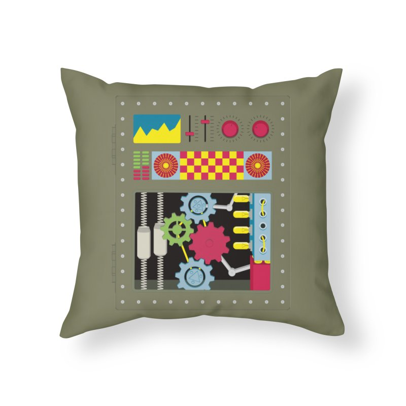 1950s RETRO STYLE VINTAGE ROBOT Home Throw Pillow by Sidewise Clothing & Design