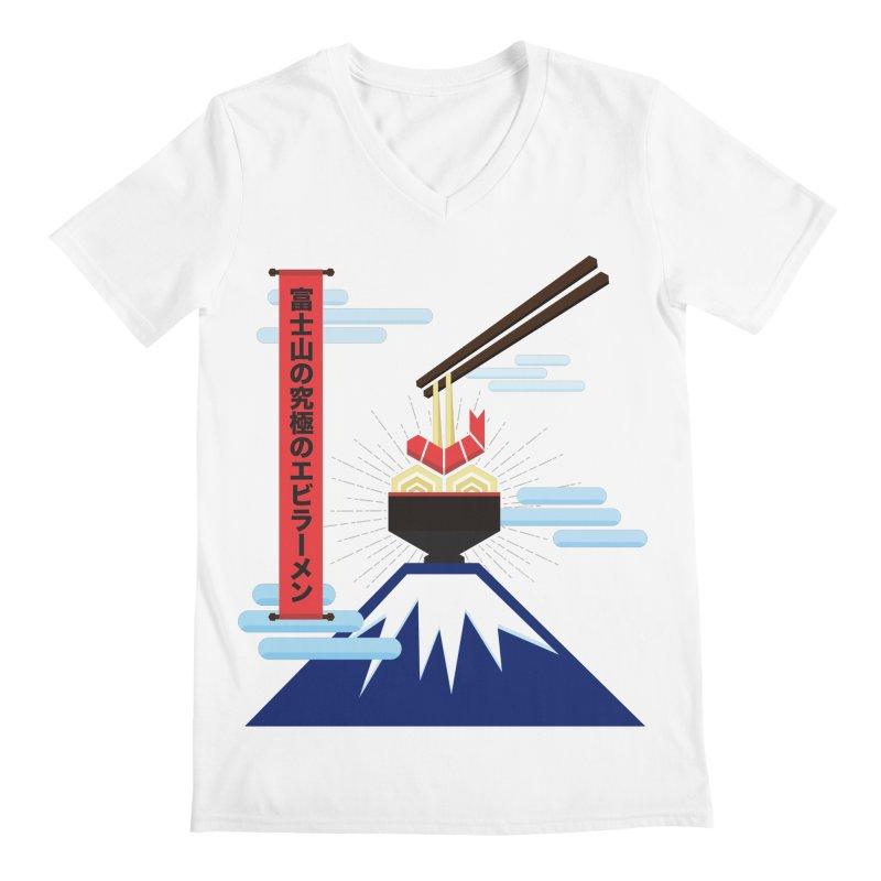 The Ultimate Shrimp Ramen of Mount Fuji Men's Regular V-Neck by Sidewise Clothing & Design