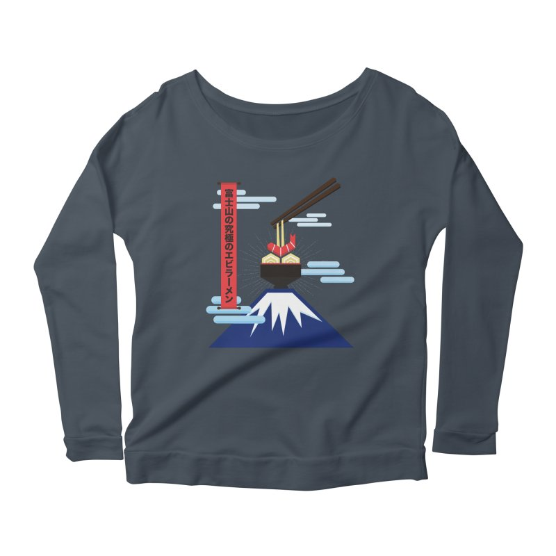 The Ultimate Shrimp Ramen of Mount Fuji Women's Scoop Neck Longsleeve T-Shirt by Sidewise Clothing & Design