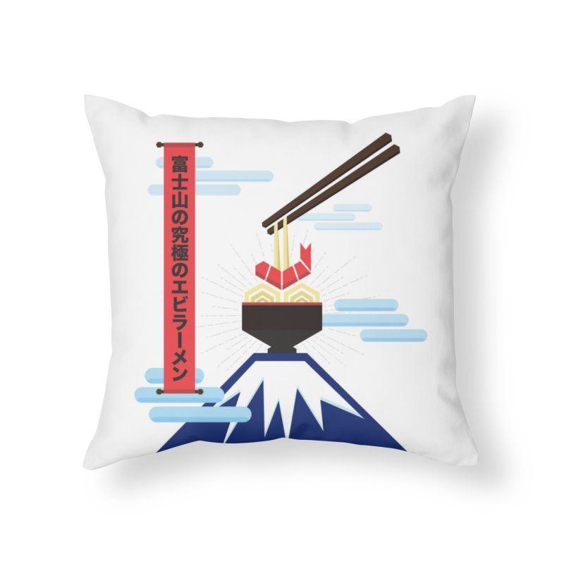 The Ultimate Shrimp Ramen of Mount Fuji Home Throw Pillow by Sidewise Clothing & Design
