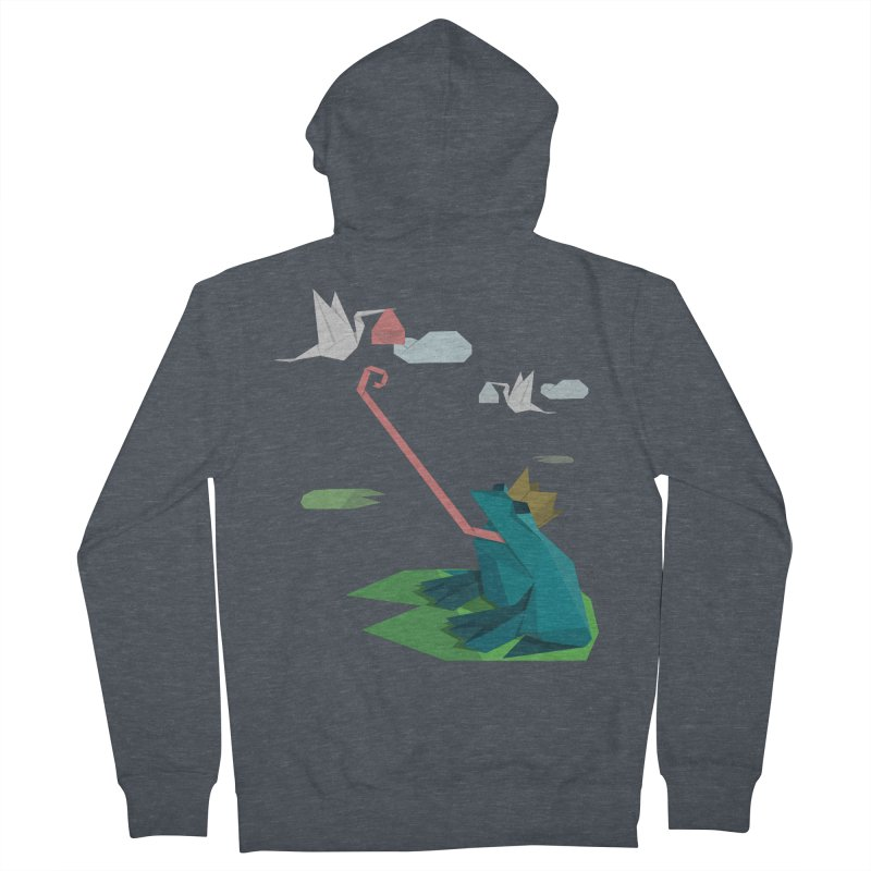 The Frog Prince and the Delivery Storks – An Origami Dark Fairy Tale Men's French Terry Zip-Up Hoody by Sidewise Clothing & Design