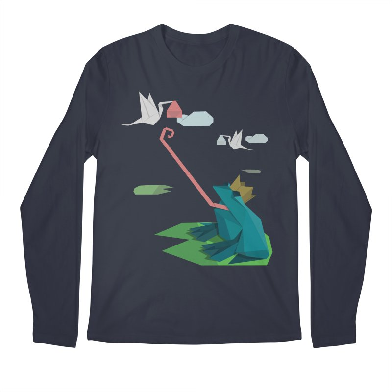 The Frog Prince and the Delivery Storks – An Origami Dark Fairy Tale Men's Regular Longsleeve T-Shirt by Sidewise Clothing & Design