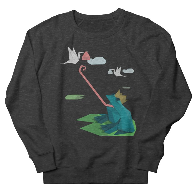 The Frog Prince and the Delivery Storks – An Origami Dark Fairy Tale Women's French Terry Sweatshirt by Sidewise Clothing & Design