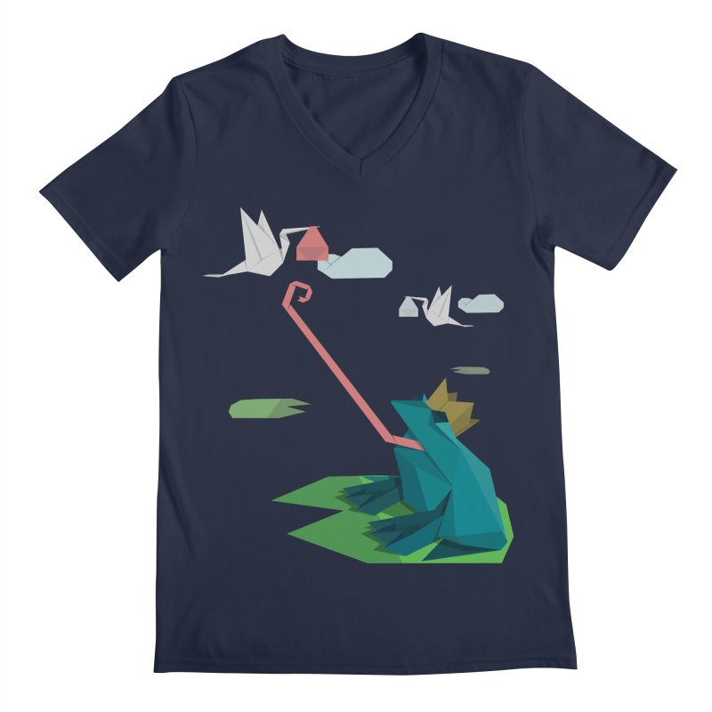 The Frog Prince and the Delivery Storks – An Origami Dark Fairy Tale Men's Regular V-Neck by Sidewise Clothing & Design