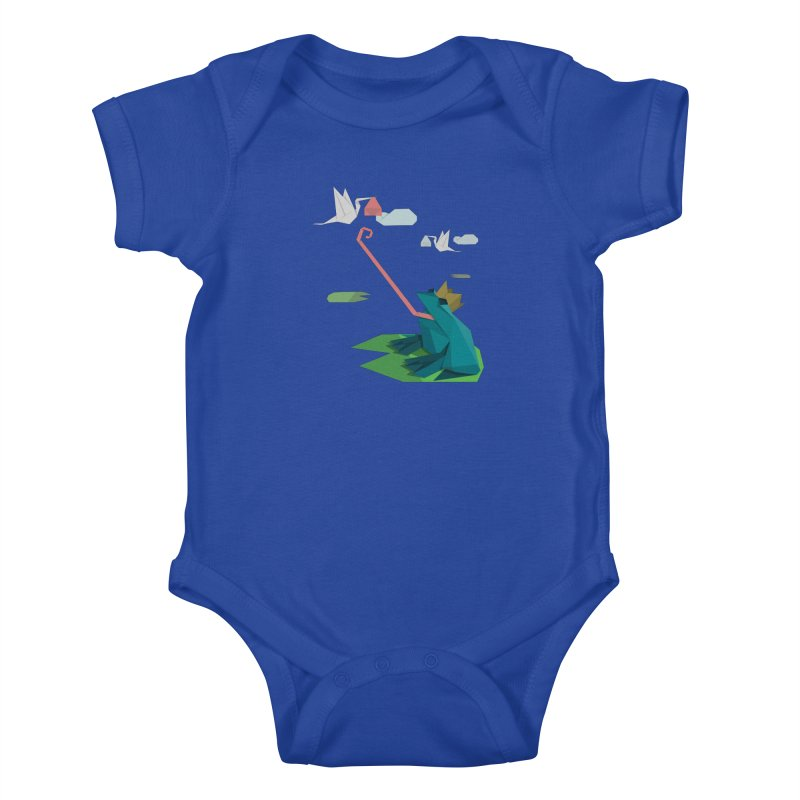 The Frog Prince and the Delivery Storks – An Origami Dark Fairy Tale Kids Baby Bodysuit by Sidewise Clothing & Design