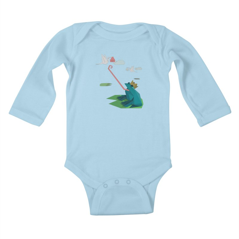 The Frog Prince and the Delivery Storks – An Origami Dark Fairy Tale Kids Baby Longsleeve Bodysuit by Sidewise Clothing & Design