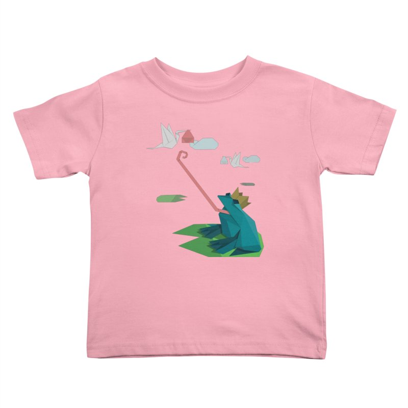 The Frog Prince and the Delivery Storks – An Origami Dark Fairy Tale Kids Toddler T-Shirt by Sidewise Clothing & Design