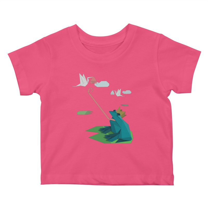 The Frog Prince and the Delivery Storks – An Origami Dark Fairy Tale Kids Baby T-Shirt by Sidewise Clothing & Design