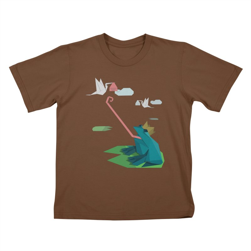 The Frog Prince and the Delivery Storks – An Origami Dark Fairy Tale Kids T-Shirt by Sidewise Clothing & Design