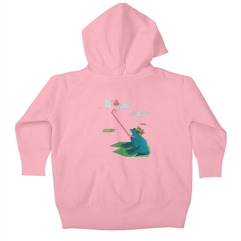 The Frog Prince and the Delivery Storks – An Origami Dark Fairy Tale Kids Baby Zip-Up Hoody by Sidewise Clothing & Design