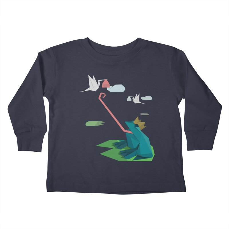 The Frog Prince and the Delivery Storks – An Origami Dark Fairy Tale Kids Toddler Longsleeve T-Shirt by Sidewise Clothing & Design