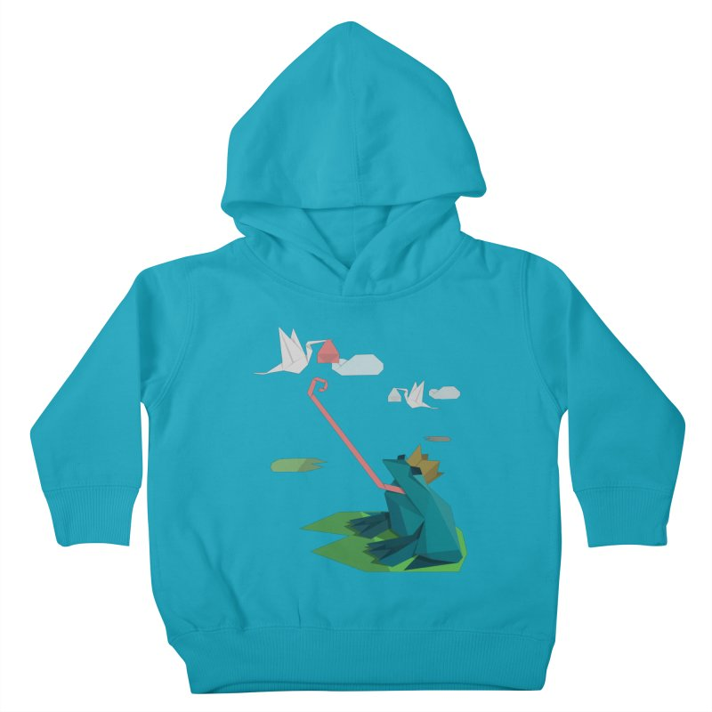 The Frog Prince and the Delivery Storks – An Origami Dark Fairy Tale Kids Toddler Pullover Hoody by Sidewise Clothing & Design