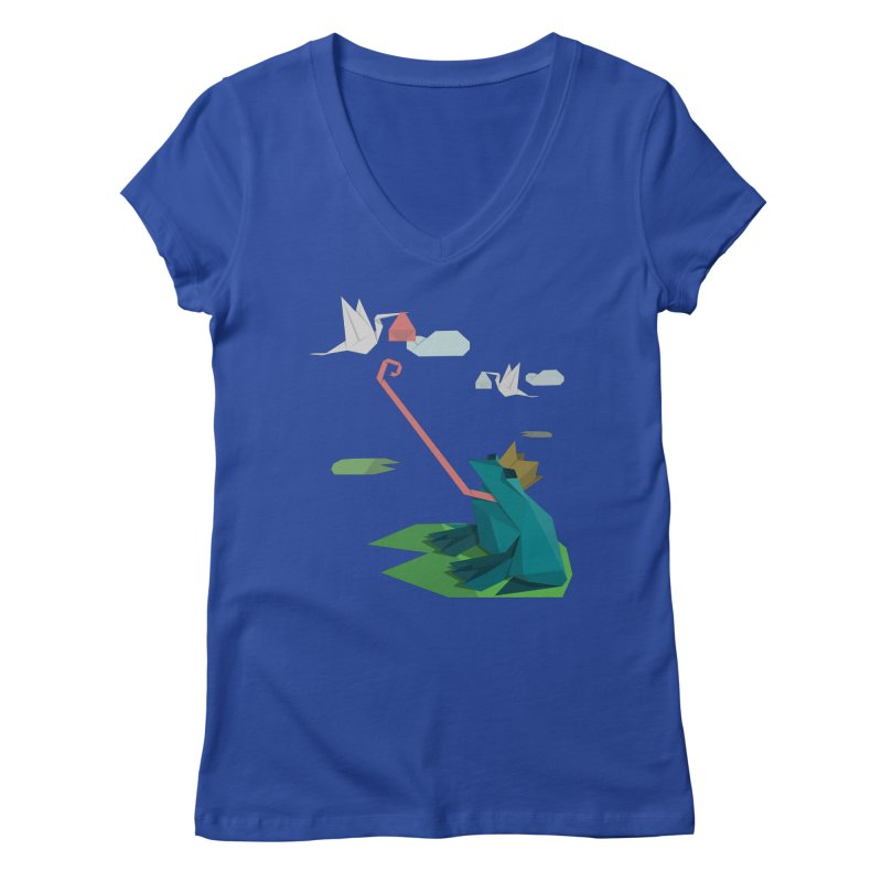 The Frog Prince and the Delivery Storks – An Origami Dark Fairy Tale Women's V-Neck by Sidewise Clothing & Design