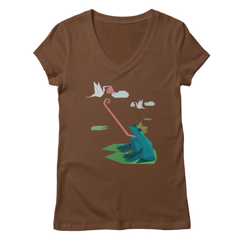 The Frog Prince and the Delivery Storks – An Origami Dark Fairy Tale Women's Regular V-Neck by Sidewise Clothing & Design