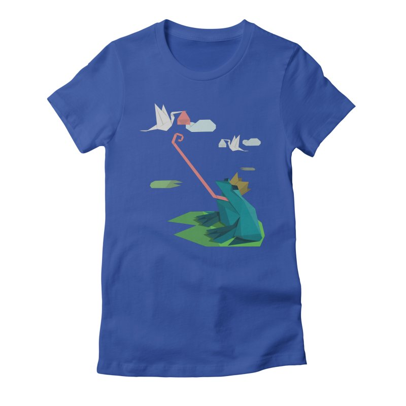 The Frog Prince and the Delivery Storks – An Origami Dark Fairy Tale in Women's Fitted T-Shirt Royal Blue by Sidewise Clothing & Design