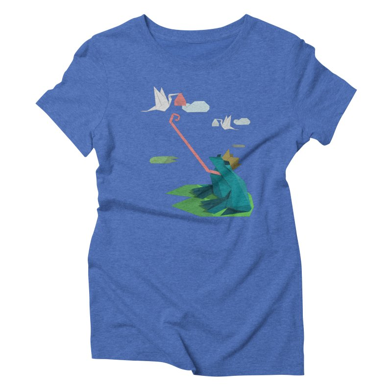 The Frog Prince and the Delivery Storks – An Origami Dark Fairy Tale Women's Triblend T-Shirt by Sidewise Clothing & Design