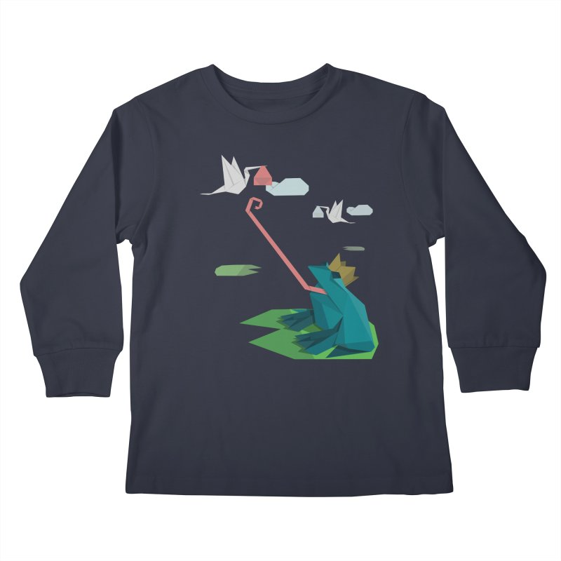 The Frog Prince and the Delivery Storks – An Origami Dark Fairy Tale Kids Longsleeve T-Shirt by Sidewise Clothing & Design