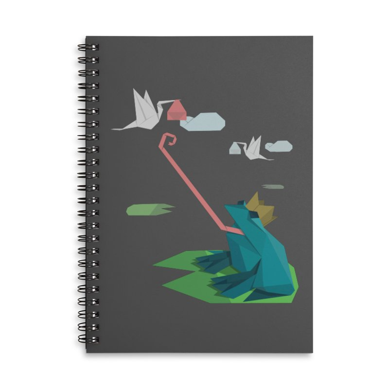 The Frog Prince and the Delivery Storks – An Origami Dark Fairy Tale Accessories Lined Spiral Notebook by Sidewise Clothing & Design