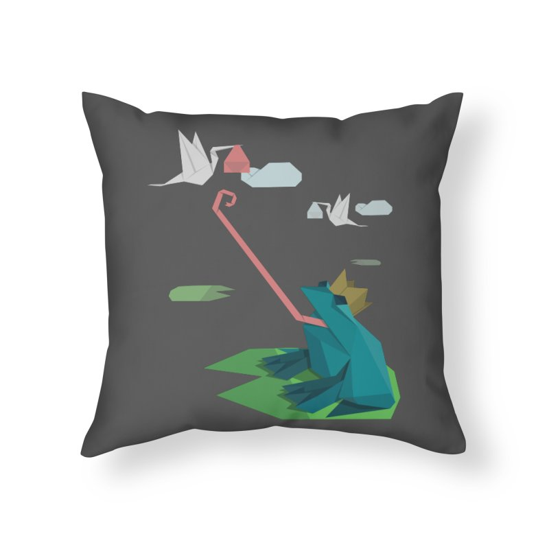 The Frog Prince and the Delivery Storks – An Origami Dark Fairy Tale Home Throw Pillow by Sidewise Clothing & Design