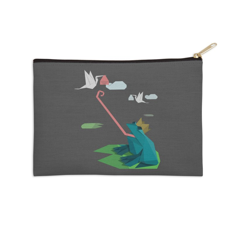 The Frog Prince and the Delivery Storks – An Origami Dark Fairy Tale Accessories Zip Pouch by Sidewise Clothing & Design