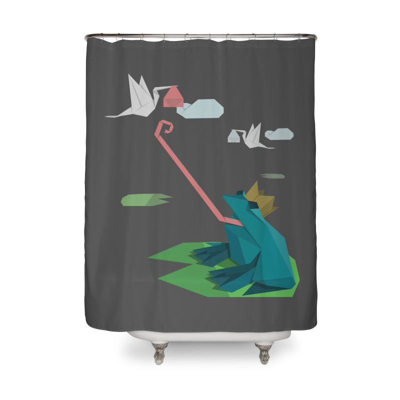 The Frog Prince and the Delivery Storks – An Origami Dark Fairy Tale Home Shower Curtain by Sidewise Clothing & Design