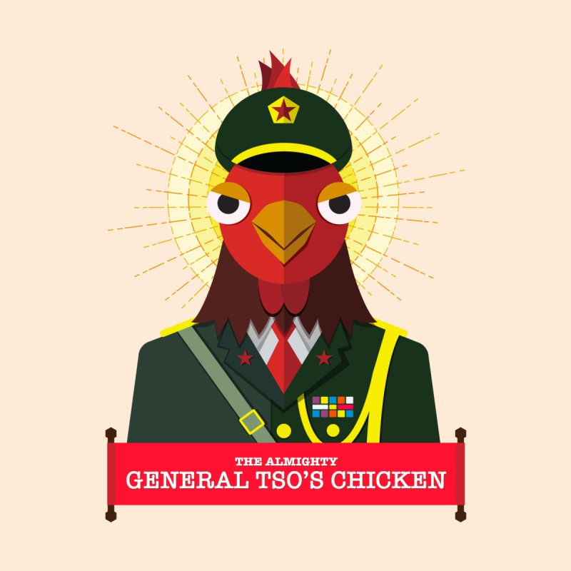 The Almighty General Tso's Chicken Men's T-Shirt by Sidewise Clothing & Design