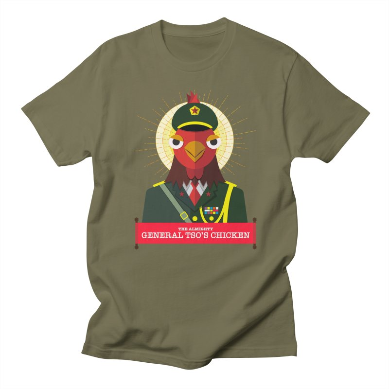 The Almighty General Tso's Chicken in Men's Regular T-Shirt Olive by Sidewise Clothing & Design