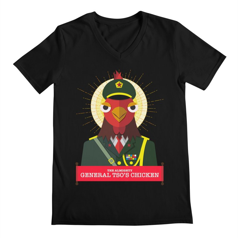 The Almighty General Tso's Chicken Men's Regular V-Neck by Sidewise Clothing & Design