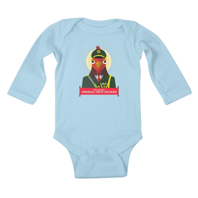 The Almighty General Tso's Chicken Kids Baby Longsleeve Bodysuit by Sidewise Clothing & Design