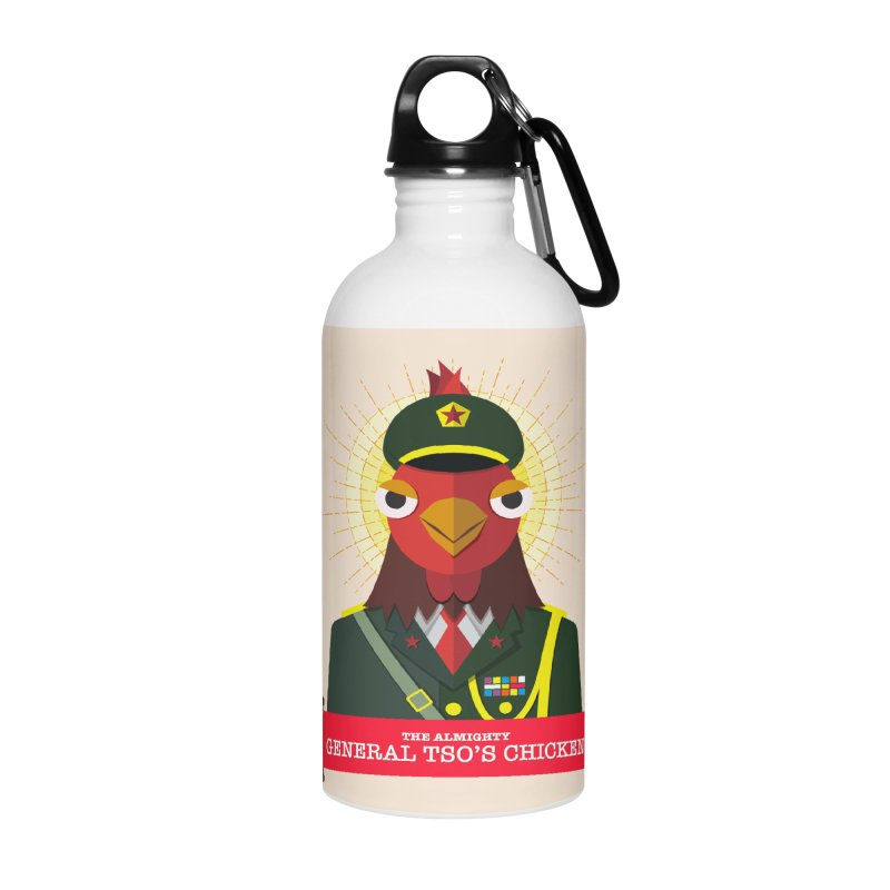 The Almighty General Tso's Chicken Accessories Water Bottle by Sidewise Clothing & Design