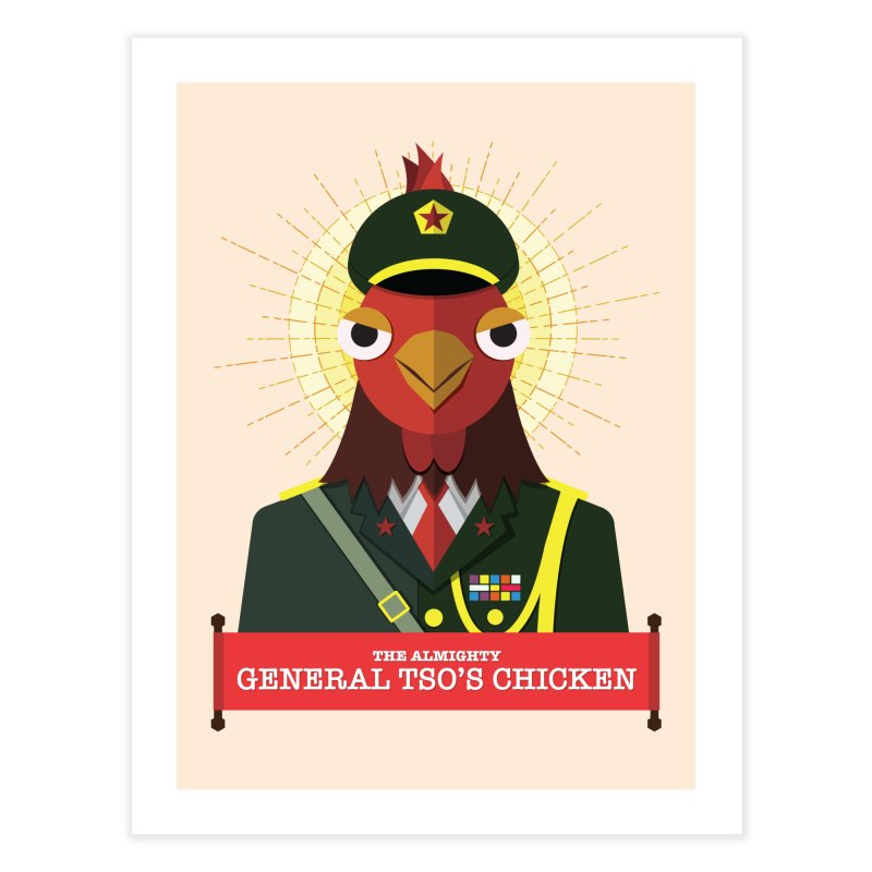 The Almighty General Tso's Chicken Home Fine Art Print by Sidewise Clothing & Design
