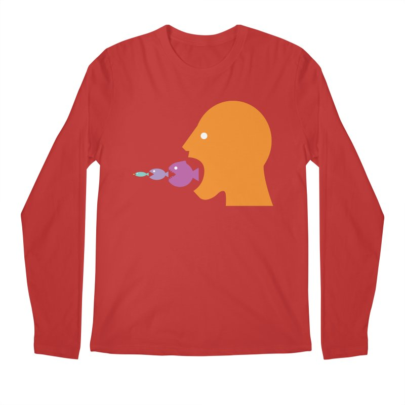 The Survival of the Fittest – Food Chain Edition. Men's Regular Longsleeve T-Shirt by Sidewise Clothing & Design