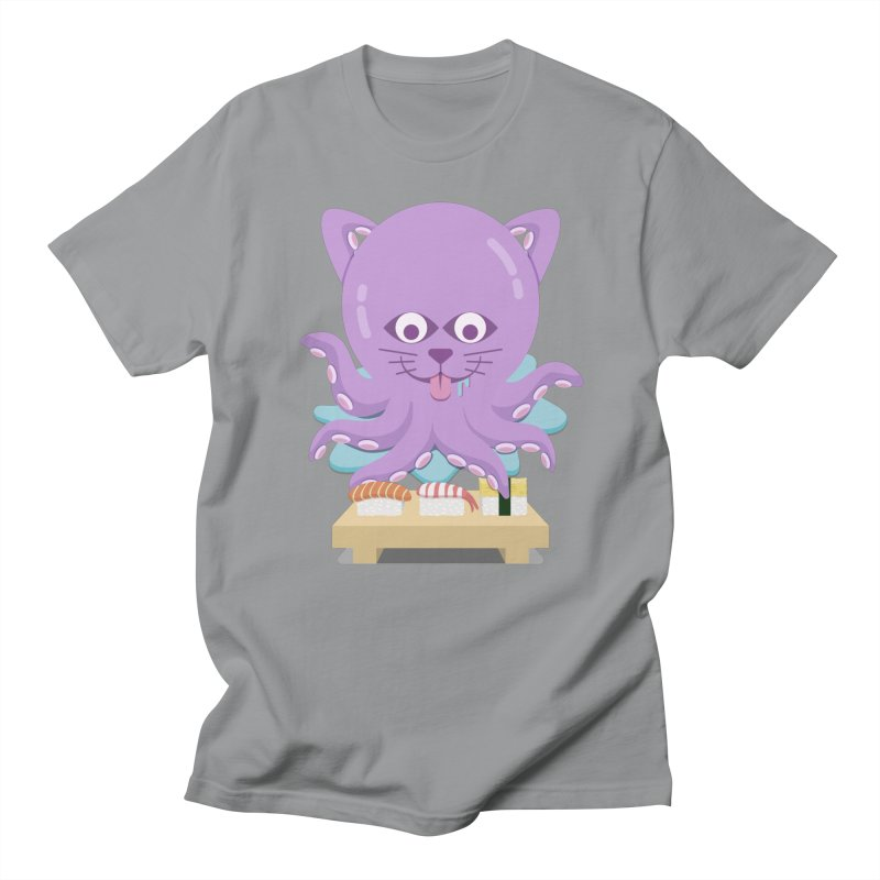 NekoTako, the Cat Wannabe Octopus, Loves Sushi. Men's Regular T-Shirt by Sidewise Clothing & Design
